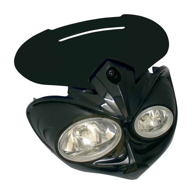 Tête de fourche Falcon noir H3 12V 55W avec kit fixation Homologuée CE