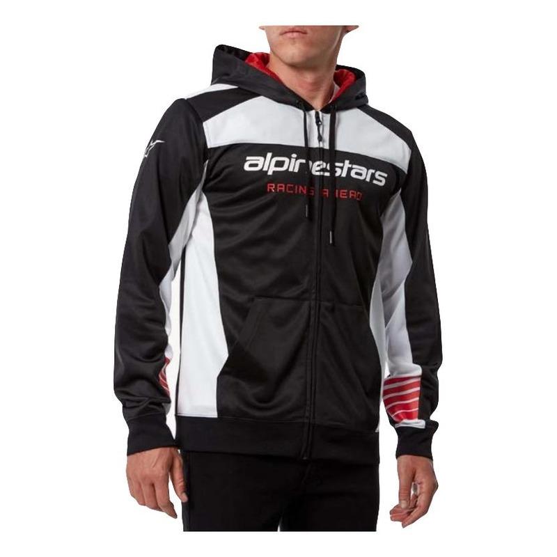 Veste à capuche zippée Alpinestars Sessions II Fleece noir/blanc