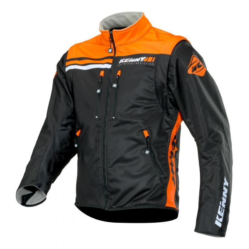 Veste textile Kenny Softshell Enduro noir/orange fluo
