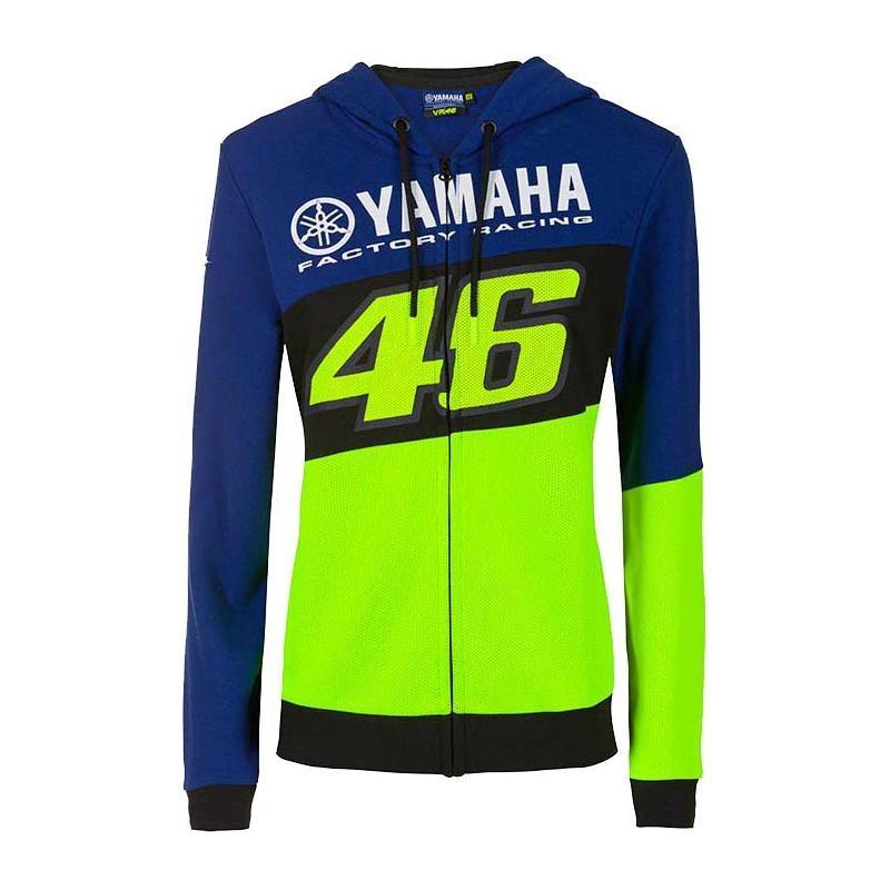 Veste zip femme VR46 Racing Yamaha sweat à capuche bleu/noir/jaune