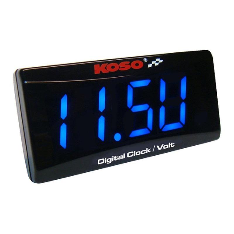 Voltmètre horloge Koso Super Slim bleu
