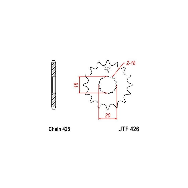 Pignon JT Sprockets Acier pas 428 14 dents - Pour Suzuki RM 125 76-79