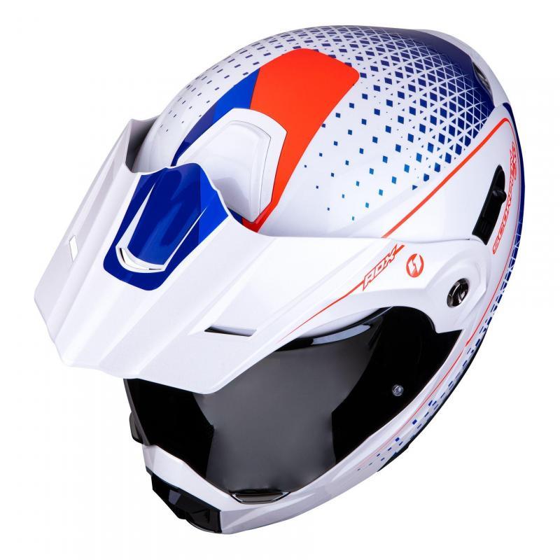 Casque modulable Scorpion ADX 1 Horizon Pearl blanc/rouge/bleu - 4