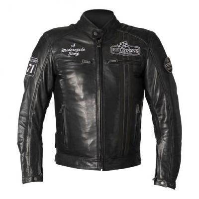 Blouson cuir Helstons Indy noir/noir
