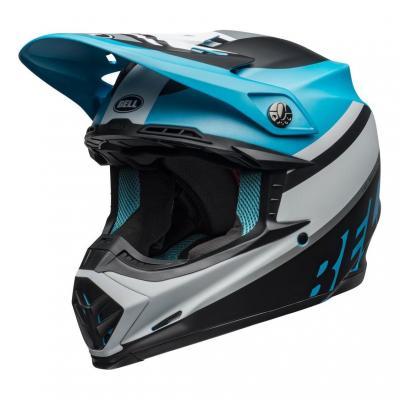 Casque cross Bell Moto-9 Mips Prophecy mat blanc/noir/bleu