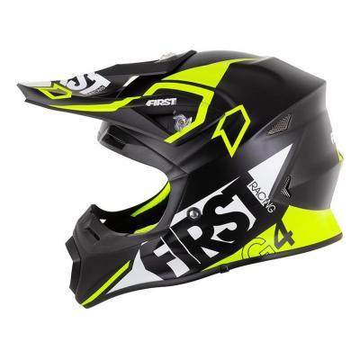 Casque cross First Racing G4 Fibre noir/blanc/jaune fluo