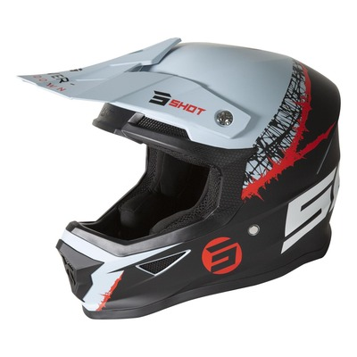 Casque cross Shot Furious Storm mat gris/rouge