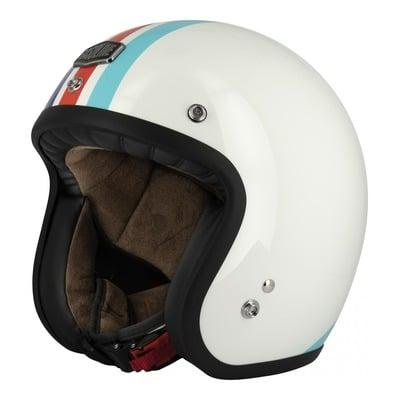 Casque jet Gasoline Café Racer S250 blanc/bleu/rouge brillant