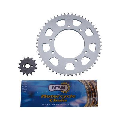 Kit chaîne Afam pas 420 14x53 démultiplication d'origine alésage 102 mm adaptable senda drd r - drd