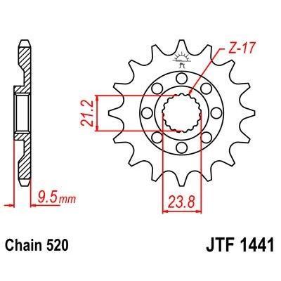 Pignon JT Sprockets Acier pas 520 14 dents - Pour Suzuki RM-Z 450 05-07