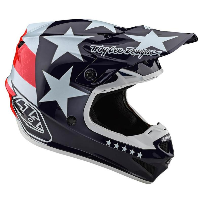 Casque cross Troy Lee Designs SE4 Polyacrylite Freedom Mips rouge/blanc - 3