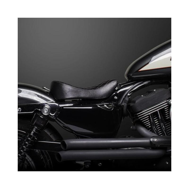 Selle Biltwell Sporty-8 Harley Davidson Sportster 10-18 noire coutures losanges - 4