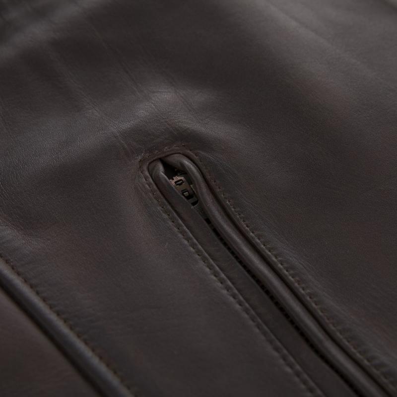 Blouson cuir Overlap RAINEY marron - 5