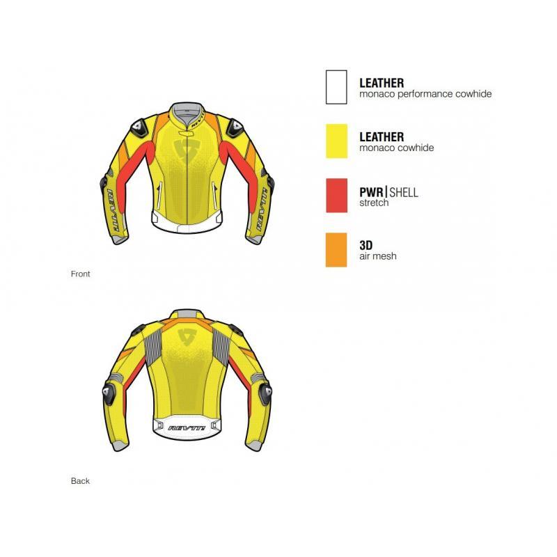 Blouson cuir Rev'it Quantum noir/jaune fluo - 2