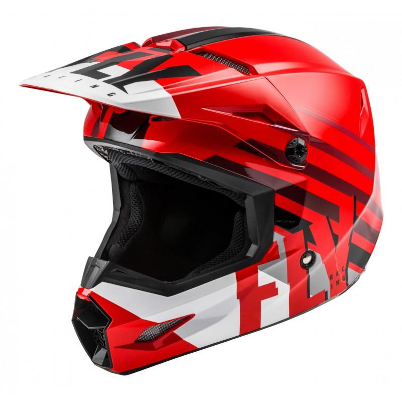 Casque cross Fly Racing Kinetic Thrive rouge/blanc/noir