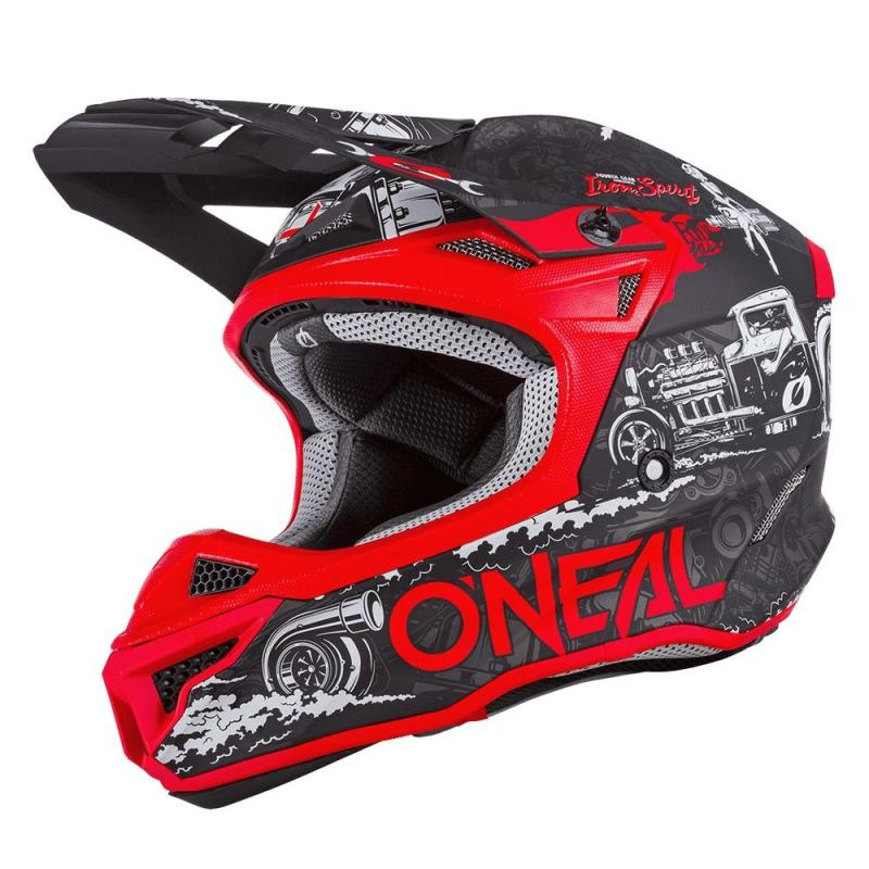 Casque cross O'Neal 5SRS HR Polyacrylite noir/rouge