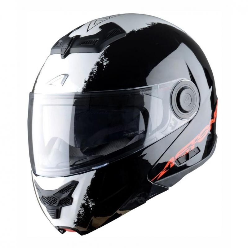 Casque Modulable Astone Rt800 Graphic Exclusive Stripes noir/blanc