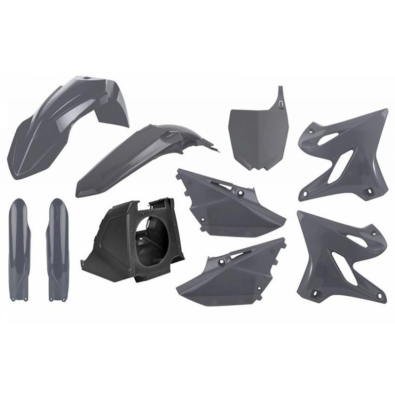 Kit plastique complet Polisport Restylé Yamaha 125 YZ 02-21 gris nardo