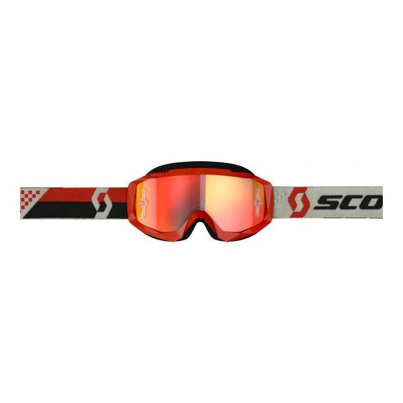 Masque cross Scott Hustle X MX rouge/gris- écran chrome orange - 1