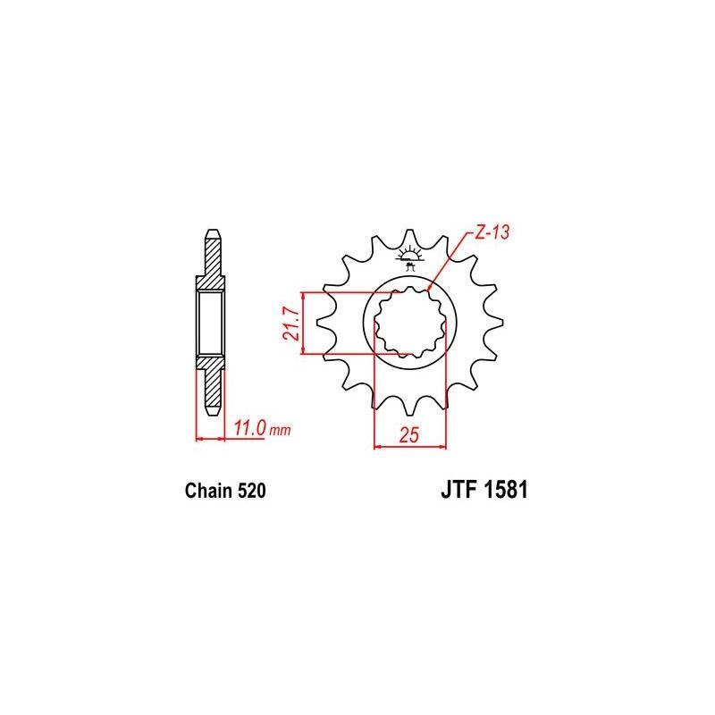 Pignon JT Sprockets Acier pas 520 15 dents - Pour Yamaha YZF-R6 99-16