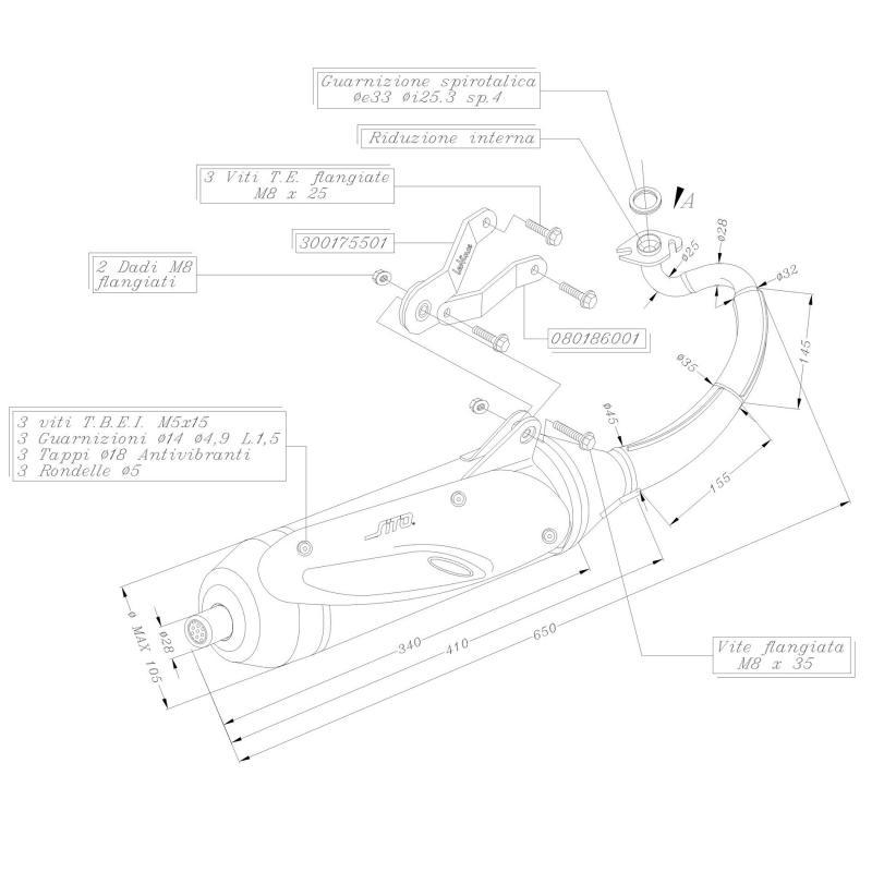 Pot d'échappement Sito pour Yamaha Aerox 50 97-03 - 1