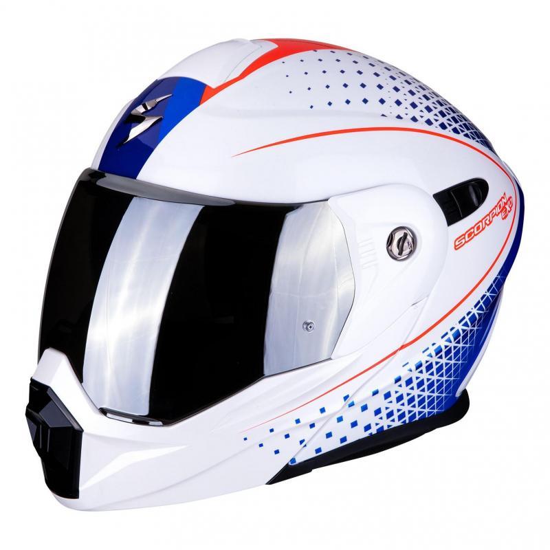 Casque modulable Scorpion ADX 1 Horizon Pearl blanc/rouge/bleu - 6