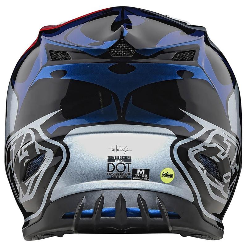 Casque cross Troy Lee Designs SE4 Polyacrylite Skully Mips argent - 2