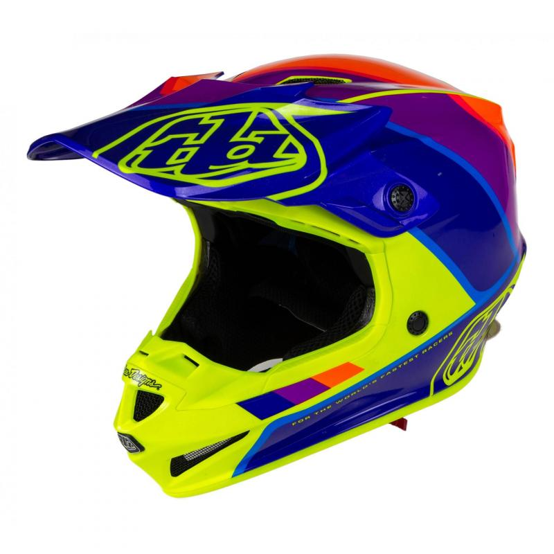 Casque cross Troy Lee Designs SE4 Polyacrylite Beta jaune/violet
