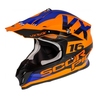 Casque cross Scorpion VX-16 Air X-Turn Mat orange/bleu