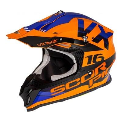Casque cross Scorpion VX-16 Air X-Turn Mat orange/bleu