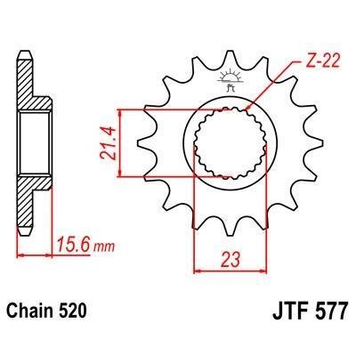 Pignon JT Sprockets Acier pas 520 14 dents - Pour Yamaha XT 600 E 89-98