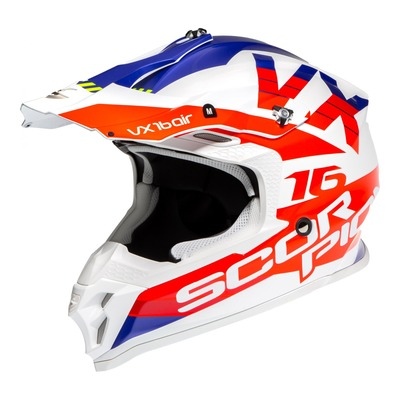 Casque cross Scorpion VX-16 Air X-Turn Mat blanc/rouge