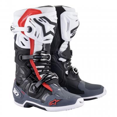 Bottes cross Alpinestars Tech 10 Supervented noir/blanc/mid gris/rouge