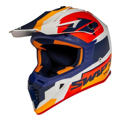 Casque cross Swaps S818 Blur blanc/bleu/orange