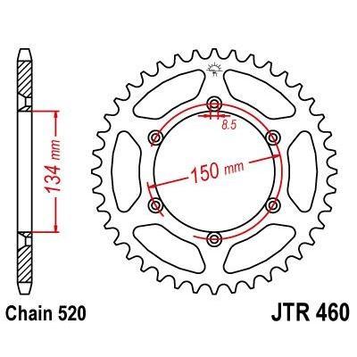 Couronne JT Sprockets Acier pas 520 47 dents - Pour Kawasaki KX 500 84-04