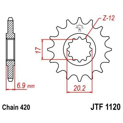 Pignon JT Sprockets Acier pas 420 12 dents - Pour Yamaha DT 50 R 97-02
