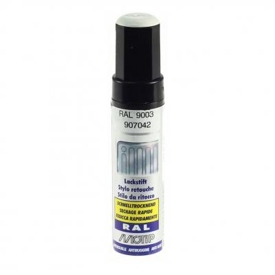 Pinceau retouche peinture Blanc de sécurité brillant acrylique RAL 9003 Motip 12 ml M907042