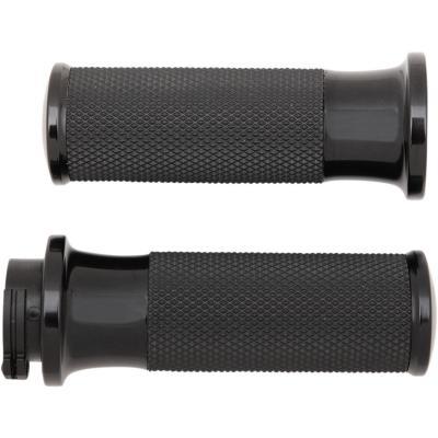 Poignées Arlen Ness Fusion moleté caoutchouc Twin Cam 99-17 bague lisse noir