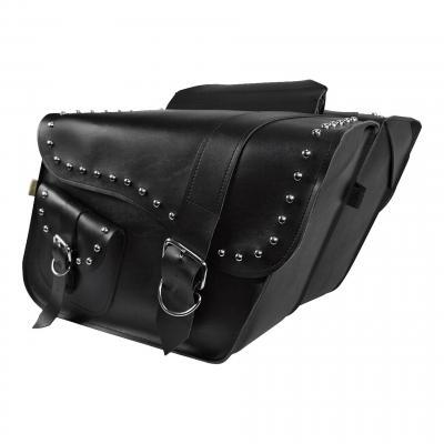 Sacoches latérales Willie & Max cuir synthétique modèle Ranger noir clou chrome