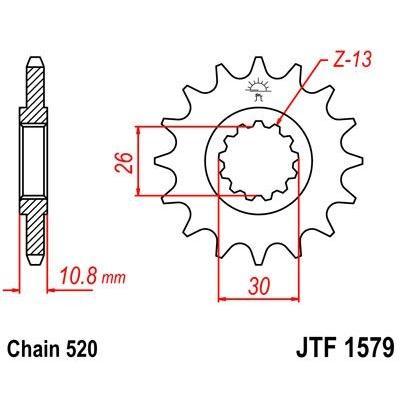 Pignon JT Sprockets Acier pas 520 17 dents - Pour Yamaha YZF-R1 04-14