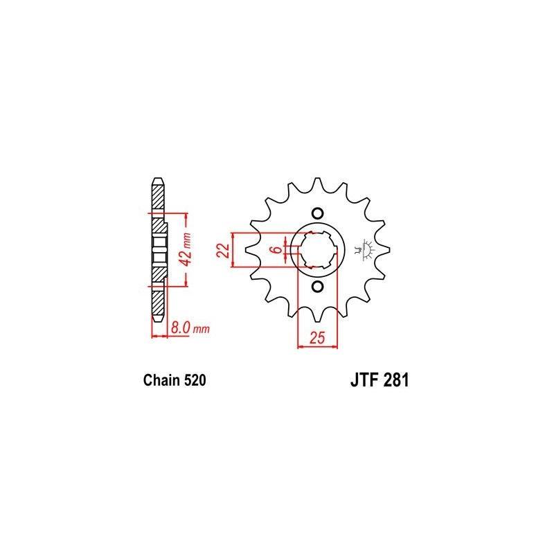 Pignon JT Sprockets Acier pas 520 14 dents - Pour Honda XR 600 85-90