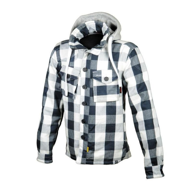 Blouson Booster Hoodie Kevlar Hunt carreaux blanc/gris/bleu