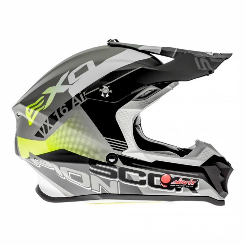 Casque cross Scorpion VX-16 Air Arhus Mat argent/noir/jaune fluo - 2