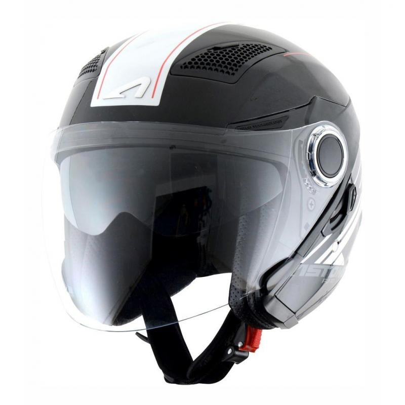 Casque jet Astone FJ10 Fiber graphic color ESPADA blanc/noir métal