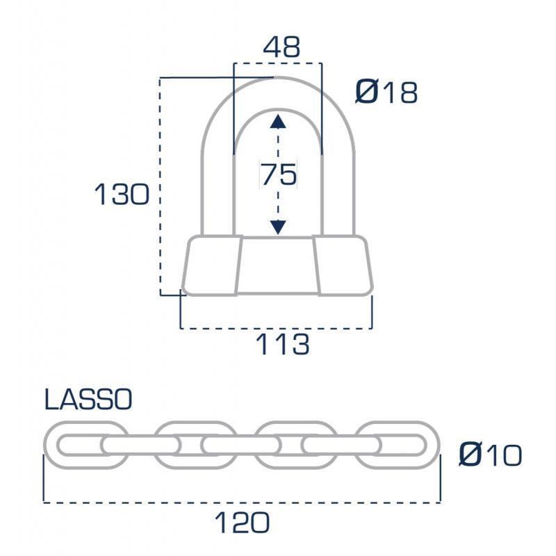 Chaîne Lasso mini U FR75 SRA/NF/FFMC - 1