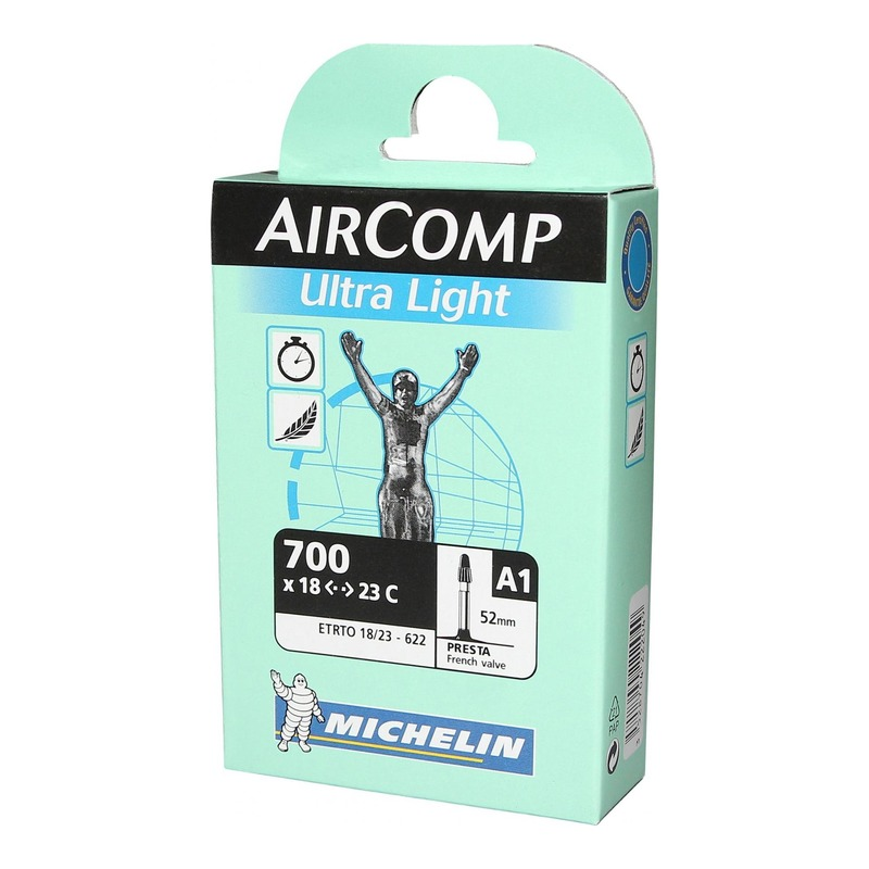 Chambre à air vélo Michelin AirComp Ultra Light 700 x 18/23C A1 Presta 52mm