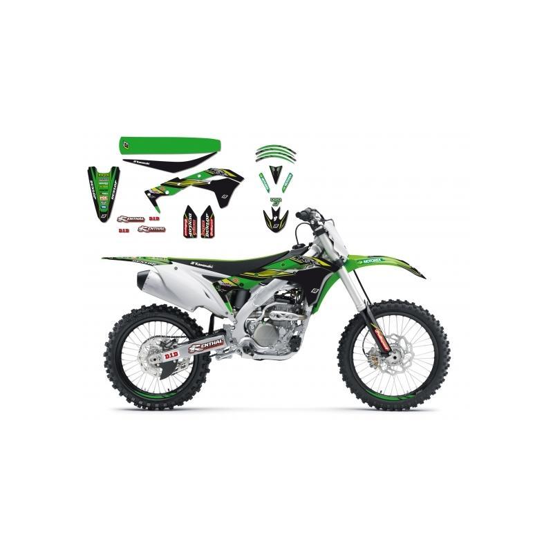 Kit déco + Housse de selle Blackbird Kawasaki Racing Team réplica 2017 Kawasaki 250 KX-F 17-18
