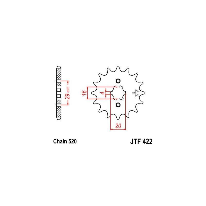 Pignon JT Sprockets Acier pas 520 12 dents - Pour Yamaha YZ 125 77-85
