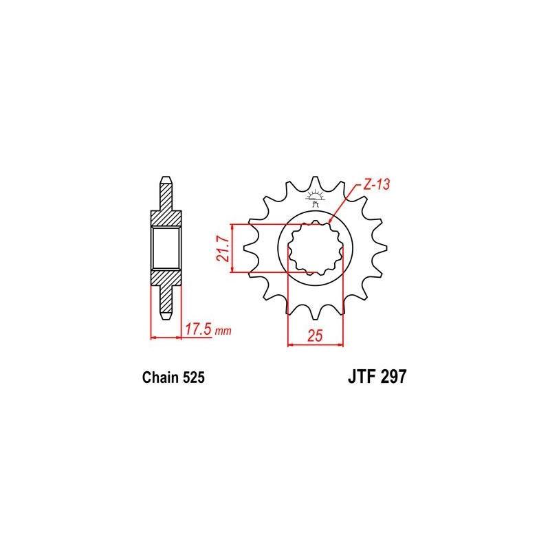 Pignon JT Sprockets Acier pas 525 15 dents - Pour Honda CB 500 S 98-03