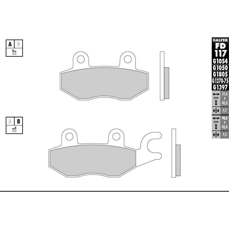 Plaquettes de frein Galfer G1054 semi-métal FD117 - 1